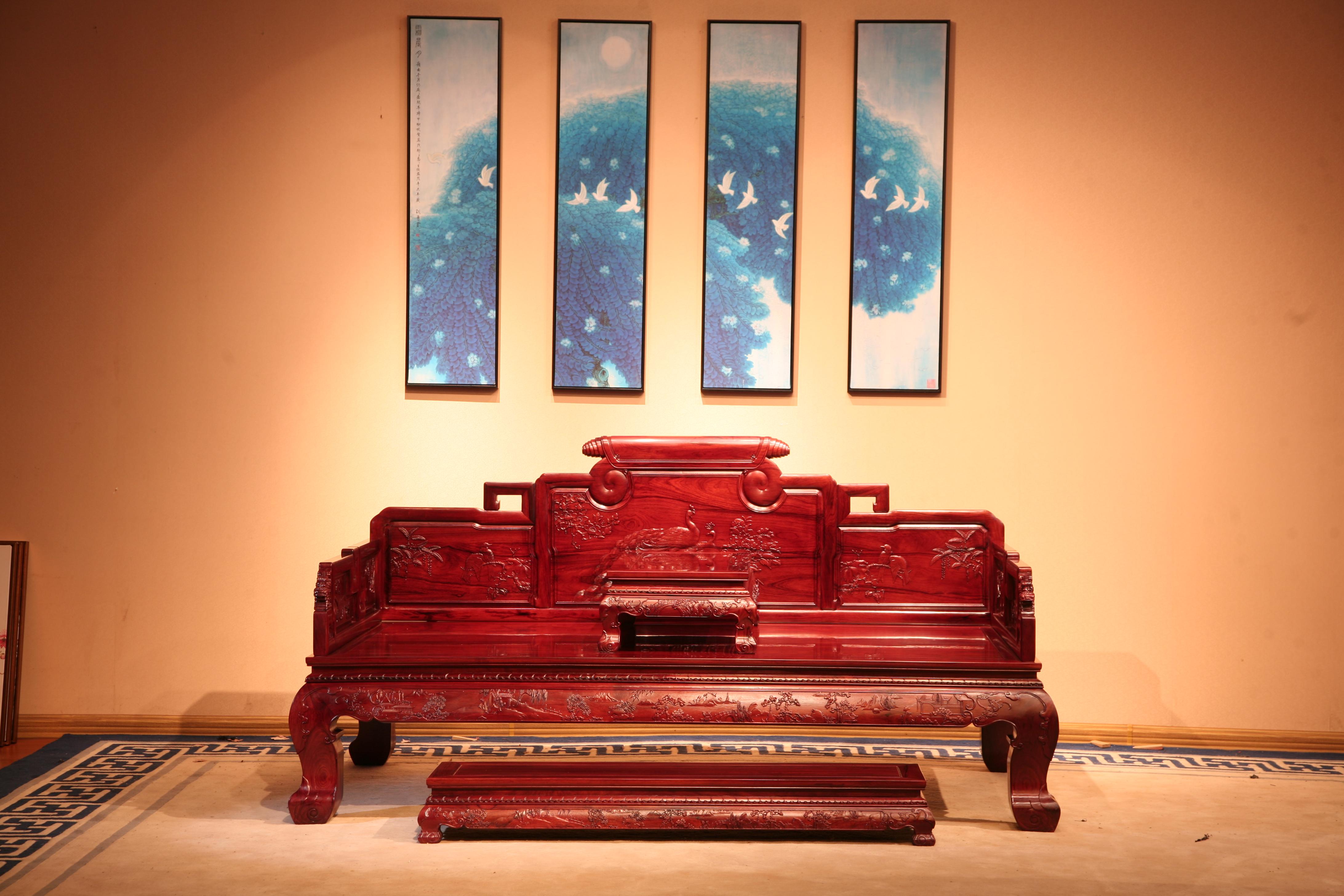 厂家直销红木家具红木罗汉床大红酸枝罗汉床古典中式罗汉床红酸枝罗汉床