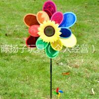 透明闪光风车 厂家批发六彩花朵风车 定做双层高光塑料太阳花风车