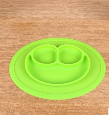 厂家直销硅胶一体式笑脸餐垫婴幼儿餐盘分格餐盘
