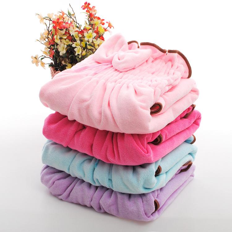 批发超细纤维浴巾吸水抹胸珊瑚绒蝴蝶结纯色婴幼儿浴裙一件代发