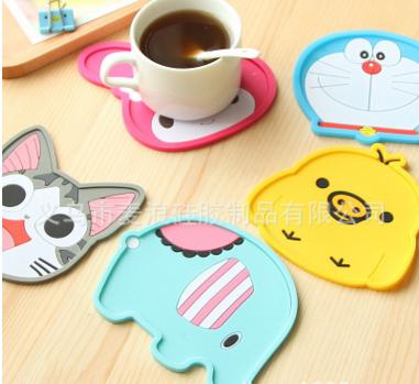 韩版创意软硅胶杯垫卡通动物隔热硅胶杯垫创意时尚硅胶防烫水杯垫