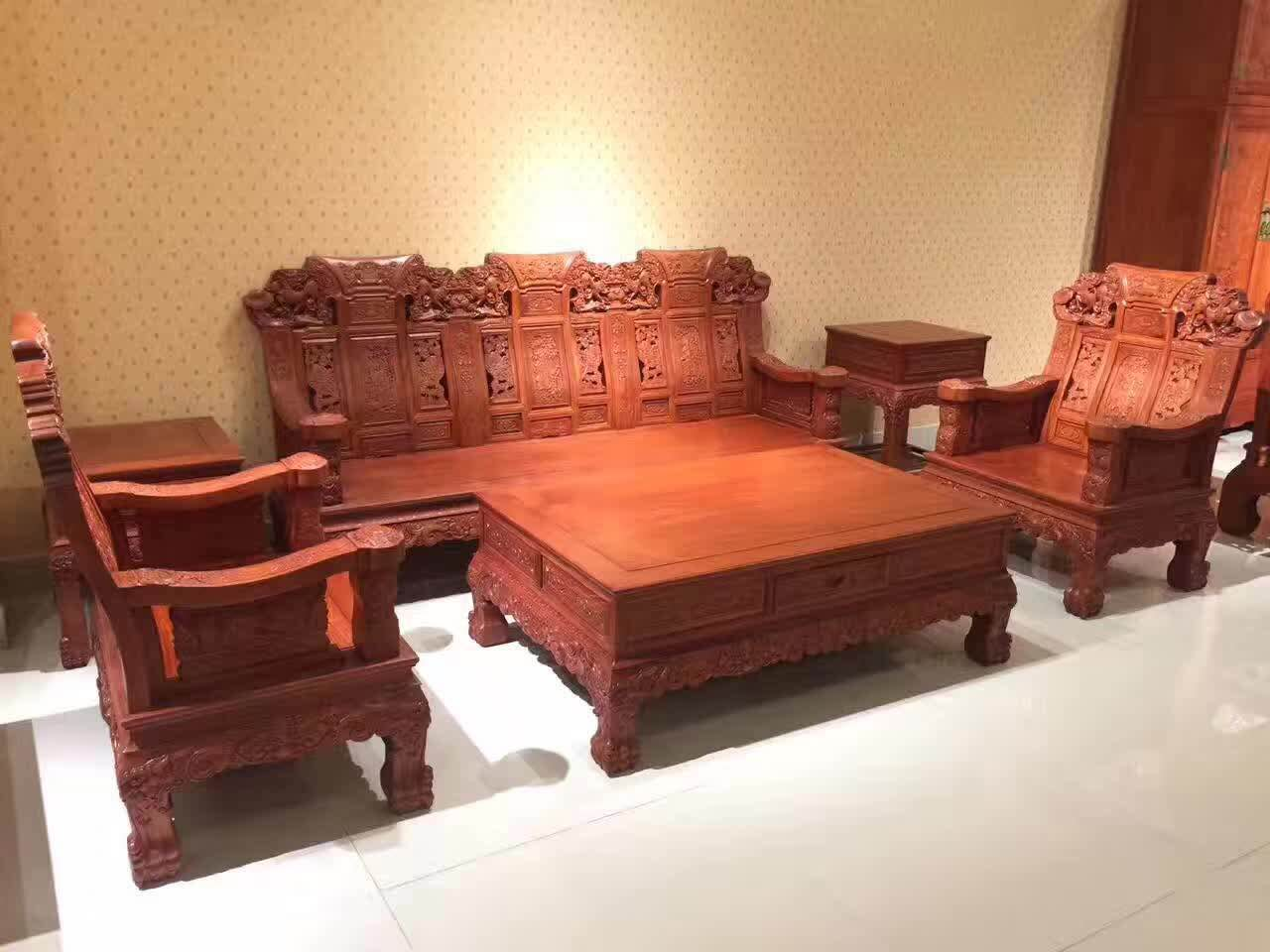东阳红木家具缅甸花梨木麒麟沙发六件套多少钱