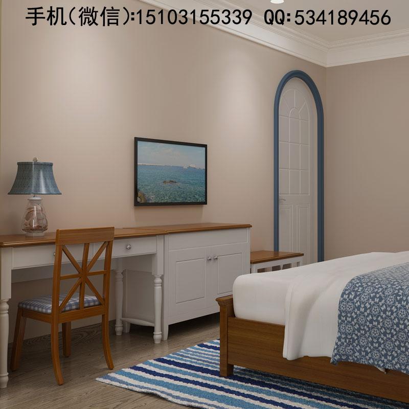 河北宾馆酒店家具厂标准间法式床衣柜电视柜行李柜写字桌