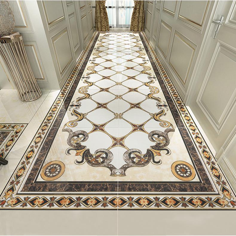 欧式客厅地砖瓷砖拼花抛晶砖拼图地板砖餐厅走廊过道无限拼图片大全