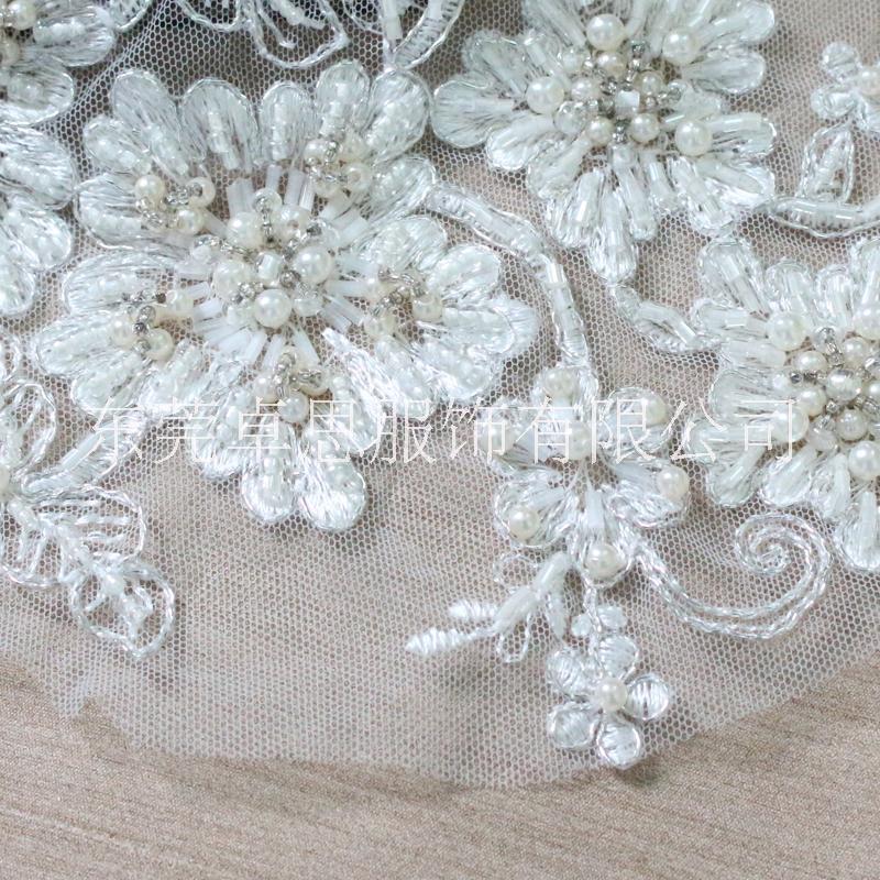 【卓思】厂家直销高品质现货蕾丝绣花订珠花朵,时尚婚纱礼服面料 厂家直销高品质蕾丝绣花订珠花朵