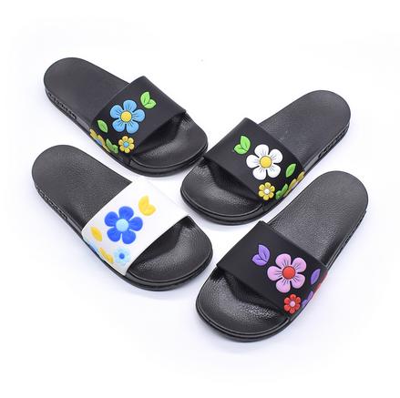 凉拖鞋女花朵时尚平跟外穿厚底一字拖海边韩版防滑沙滩鞋夏