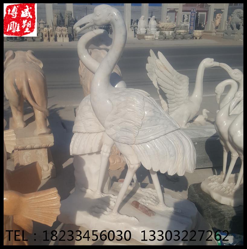 曲阳石雕汉白玉仙鹤丹顶鹤双鹤齐飞公园摆件石雕动物雕塑厂家直销