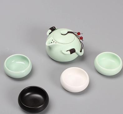 陶瓷4人功夫茶具快客杯一壶四杯户外旅行套装便携包定窑茶壶特价