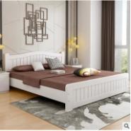 欧式白色实木床图片