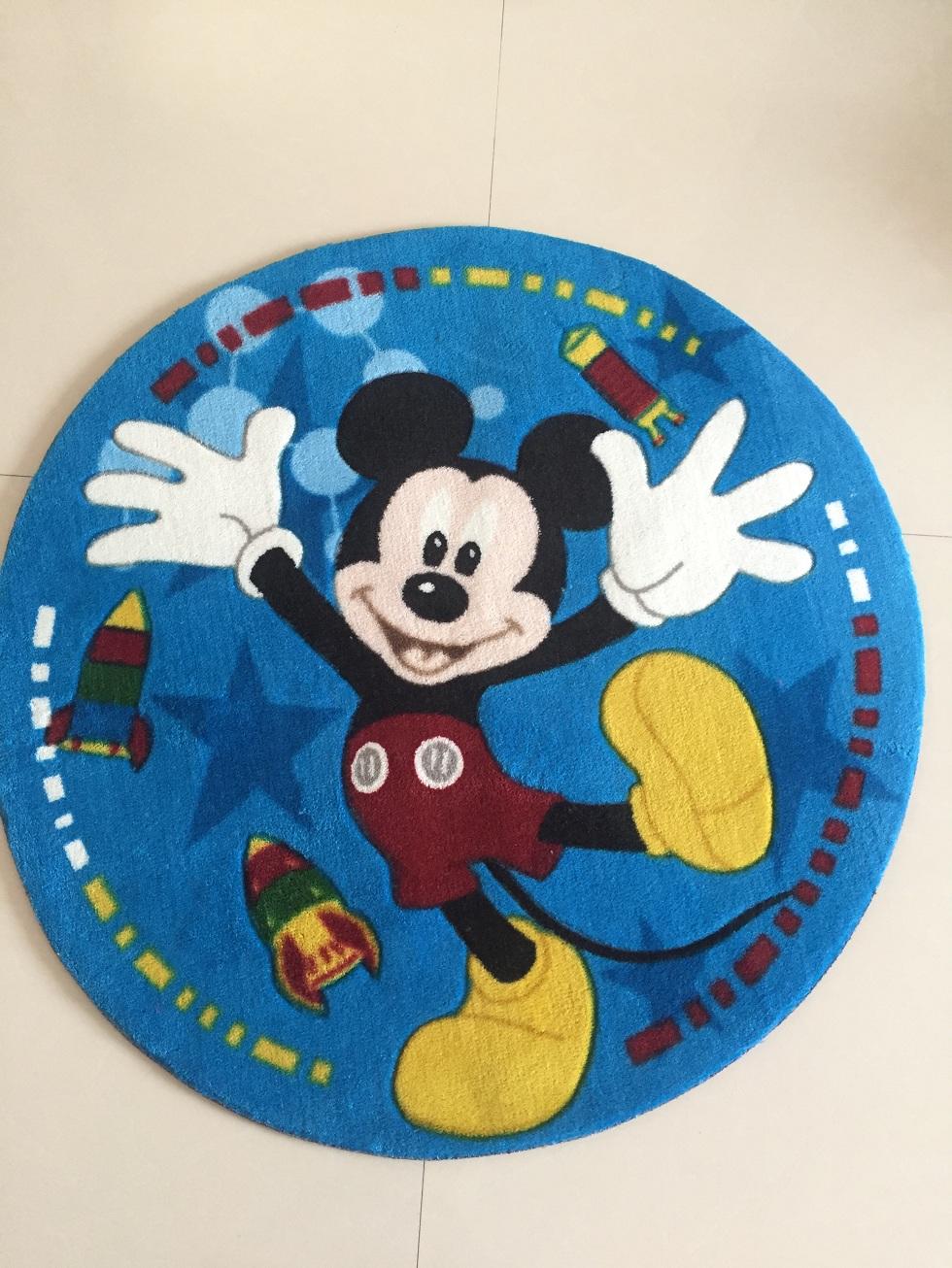 高档腈纶印花地毯 卡通地垫 优质腈纶印花地毯 圆形卡通地垫