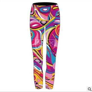 欧美数码印花修身运动高弹性铅笔打底裤紧身瑜伽裤四针六线拼缝
