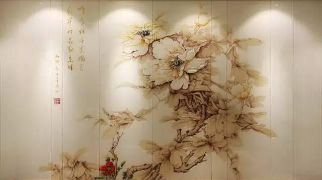 新中式风格背景墙—国色天香