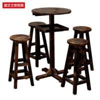 防腐碳化木酒吧桌椅 甜品店实木桌椅组合 吧台桌凳 户外咖啡桌椅