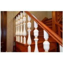 阁楼别墅实木楼梯立柱扶手护栏室内楼梯定制欧式立柱楼梯飘窗栏杆护栏图片