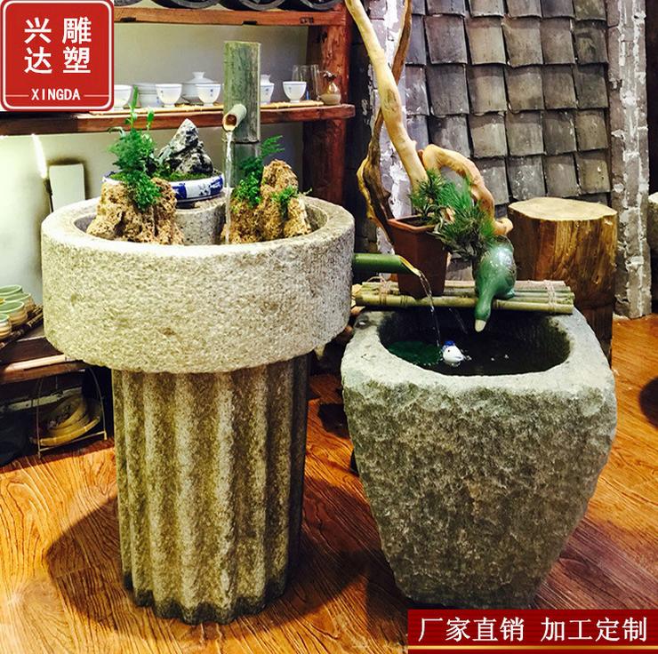 石雕流水景民间旧石器特色组合流水摆件室内老磨盘创意水景装饰