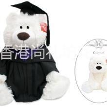 香港特色Barnes&Coleman经典白色泰迪熊毕业公仔高校毕业礼物批发