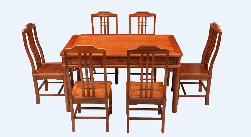缅花明式餐桌椅七件套