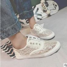 镂空透气蕾丝 低帮帆布鞋女学生韩版 一脚蹬女生小白鞋 懒人潮 低帮帆布鞋女鞋