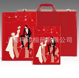 结婚相册封面 高档婚庆套装相册批发 影楼后期制作 三件套红