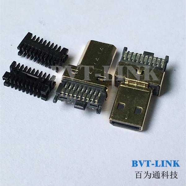 深圳HDMI D TYPE公头焊线式带线夹生产厂家直销 深圳HDMI D TYPE公头焊线式供应