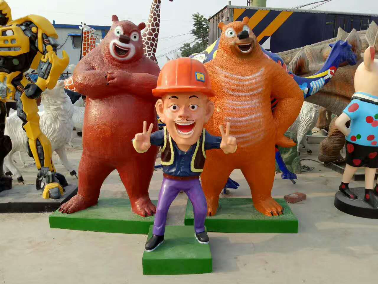 玻璃钢熊出没组合园林广雕塑
