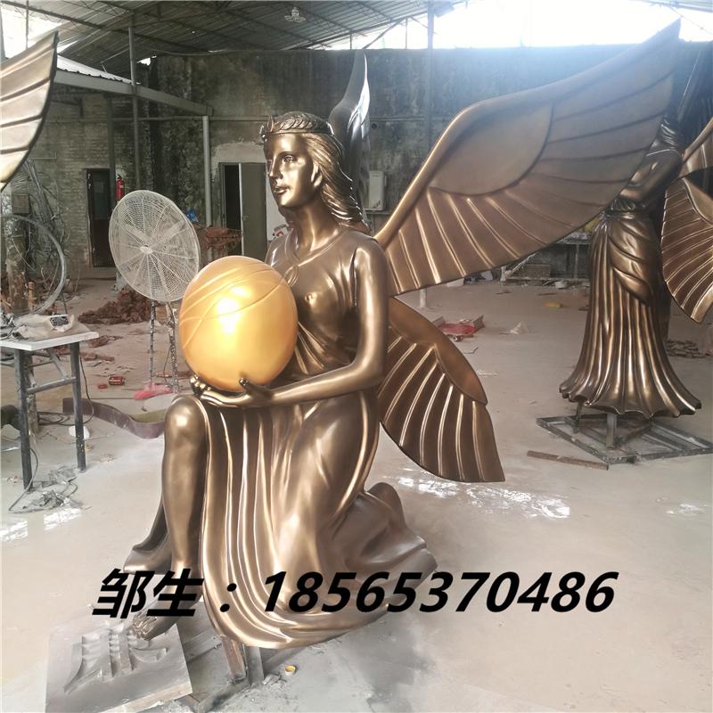 玻璃钢女神_仿铜玻璃钢天使雕像_人物玻璃钢光明女神塑像摆件