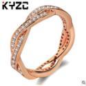 潘家欧美流行缠绕微镶镀18K金戒指女高档钻戒双排钻指环银饰品 潘家欧美流行对戒