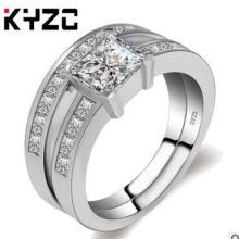 个性排钻微镶戒指欧美套戒款式结婚钻戒指环套戒正方锆石情侣对戒批发
