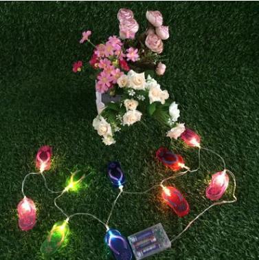 拖鞋灯串亚马逊爆款LED电池盒拖鞋造型节日装饰灯串 拖鞋灯串