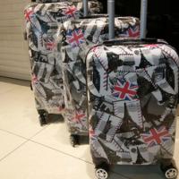 2017春季新款pc优质旅行拉杆箱时尚潮流四件套登机箱万向轮行李