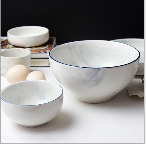 大理石纹餐盘北欧风格餐具套装釉下彩盘碗碟创意米饭碗平盘汤碗 北欧风格餐具套装供货商