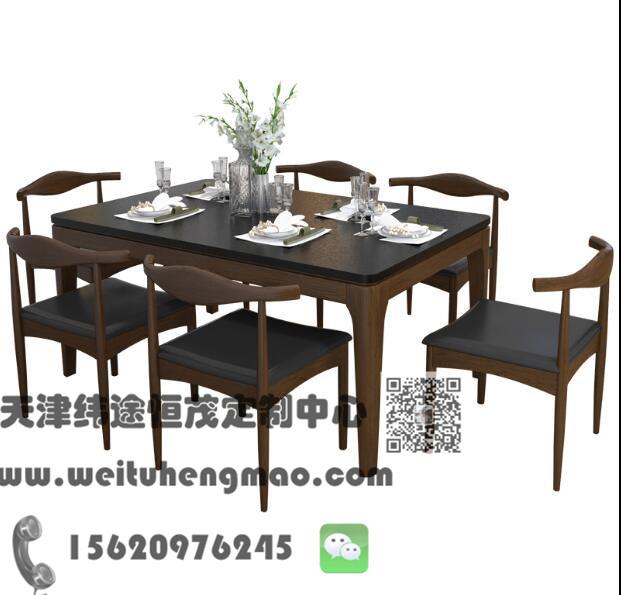 北京实木餐桌椅 餐厅实木餐桌椅 餐桌椅组合
