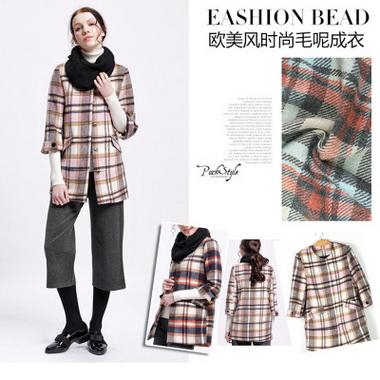 女装外套针织羊绒呢绒斜纹毛呢批发 时尚格子大衣呢出口服装面料