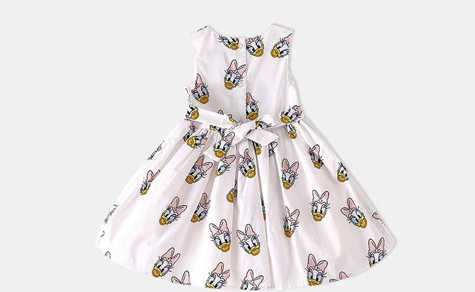 外贸欧美风童装女宝宝纯棉卡通印花裙子女童甜美唐老鸭背心连衣裙
