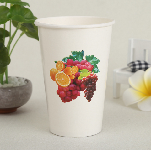 生产批发加厚一次性果汁纸杯子饮料咖啡打包可带盖纸杯