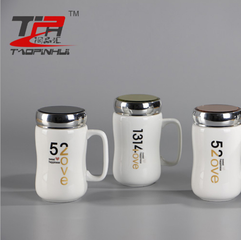 1314情侣陶瓷水杯 厂家直销零售批发 陶瓷创意保温杯卡通水杯