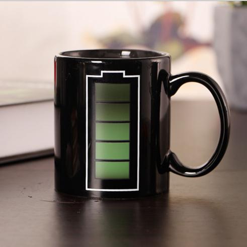 电池变色杯马克杯创意陶瓷杯礼品杯厂家批发可定制