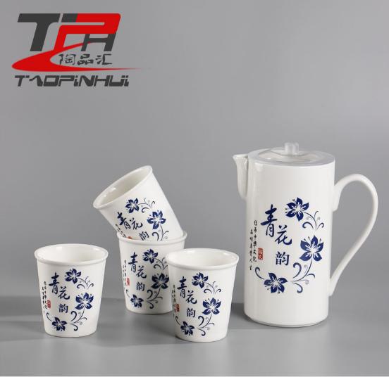 厂家直销 高档骨瓷青花陶瓷冷水壶大容量凉热水壶水杯具精美套装 花陶瓷凉热水壶水杯具