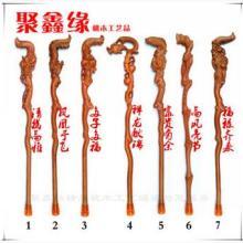 厂家批发桃木工艺品精雕老人过寿龙头拐杖拐棍一件代发图片