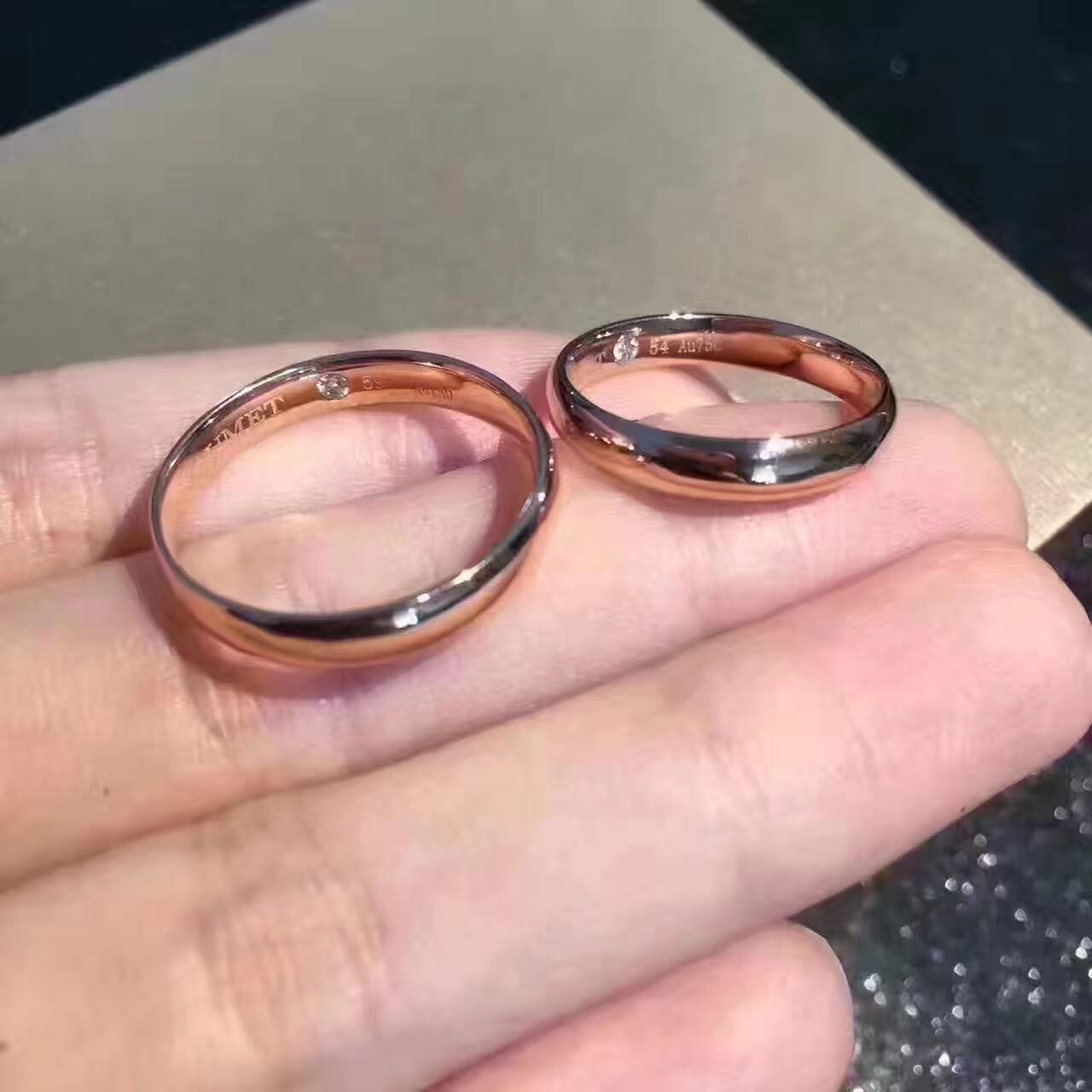 高端私人定制戒指 18K金镶钻婚戒情侣款钻戒对戒镶嵌加工一件代发