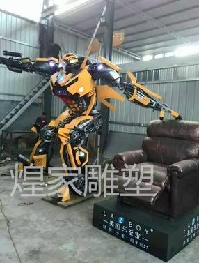 厂家直销 大型变形金刚铁艺大黄蜂金属模型人机器人摆件机械汽车零件大黄蜂