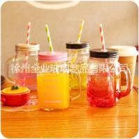梅森柠檬杯 吸管玻璃杯彩色字母杯 透明带盖 创意把子杯玻璃 梅森柠檬杯 吸管玻璃杯彩色字母杯