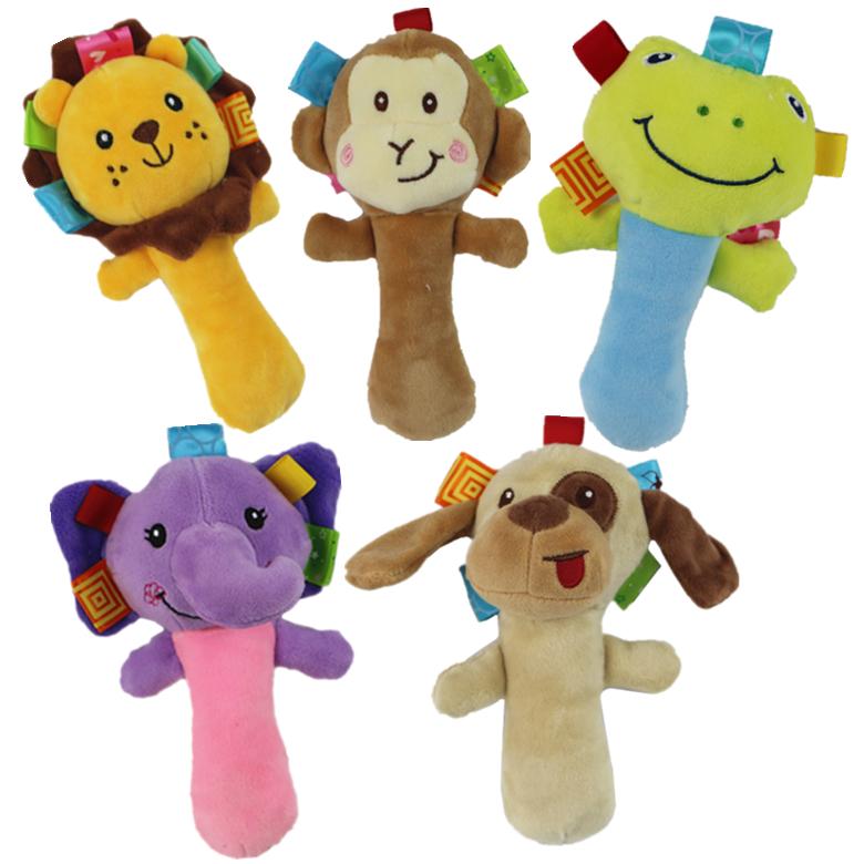 婴儿玩具手摇铃BB棒手抓毛绒宝宝0-1岁BB叫母婴玩具批发 婴儿手摇铃毛绒玩具