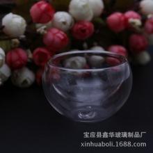 真空双层杯双层圆形花茶玻璃杯 真空双层玻璃杯 高硼硅耐热小号双层杯定制批发