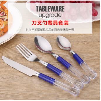 便携不锈钢餐具刀叉勺套装 透明手柄勺子叉子四件套 儿童餐具批发