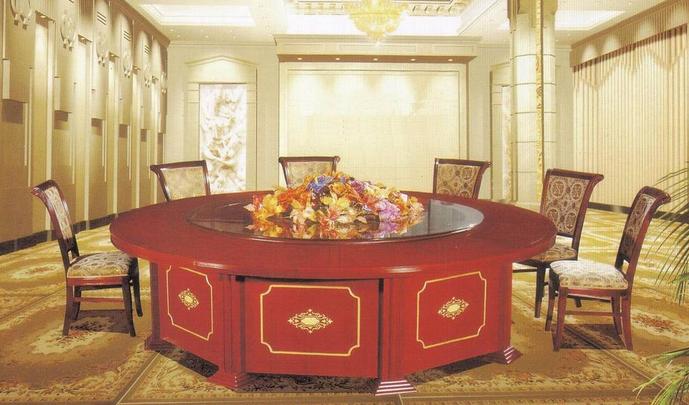 酒店圆桌电动餐桌大圆桌饭店餐桌椅组合自动餐桌宴会桌椅