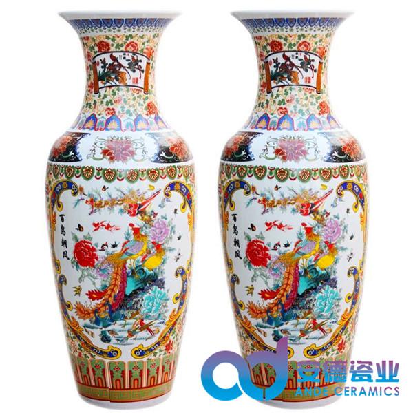 青花瓷陶瓷大花瓶,粉彩陶瓷大花瓶,手工雕刻陶瓷大花瓶