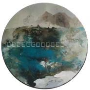 纯手绘现代简约中式抽象油画装饰画图片