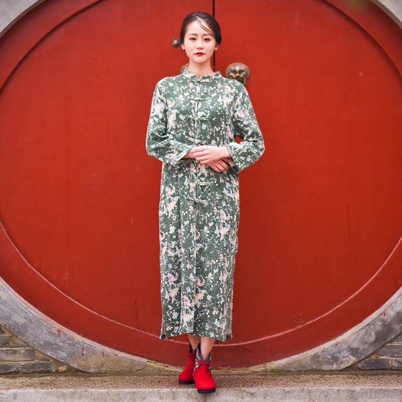 夏季新款女装民族风服装长袖棉麻复古绣花连衣裙气质长裙