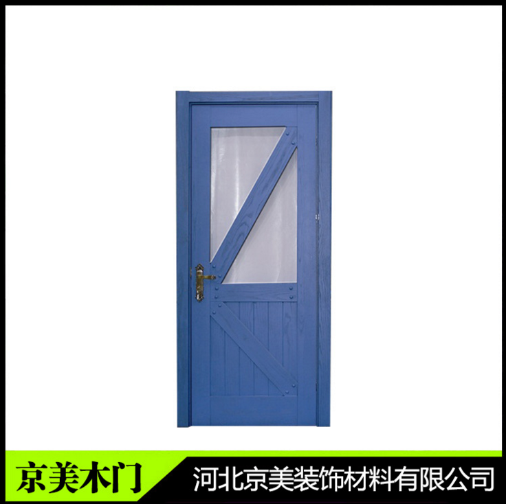 蓝色复合实木门 实木室内门房门环保门生态门批发